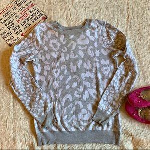 Express Leopard Print Reversible Crewneck Sweater